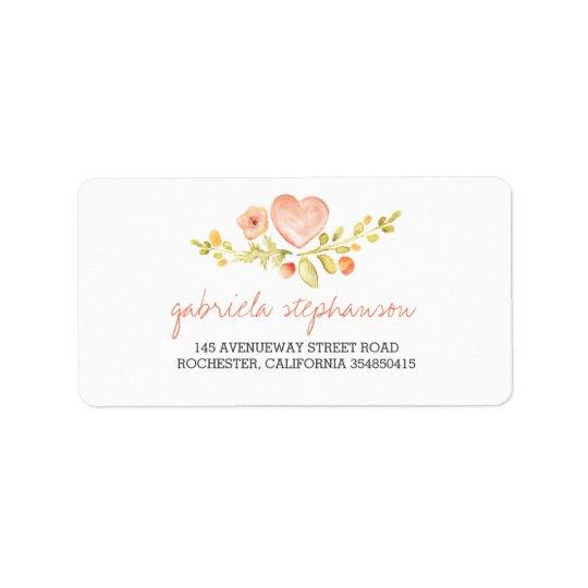 Étiquette coeur floral mignon d'aquarelle