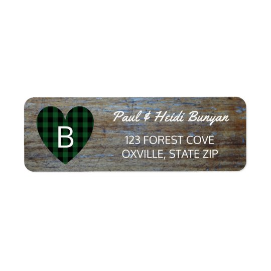 Étiquette Coeur vert en bois rustique de plaid de