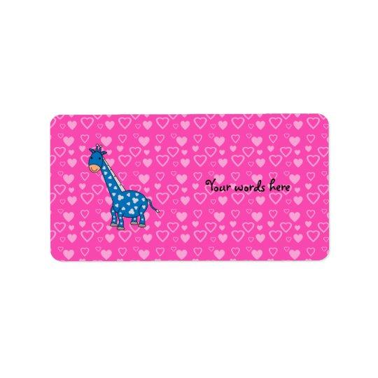 Étiquette Coeurs bleus de rose de girafe