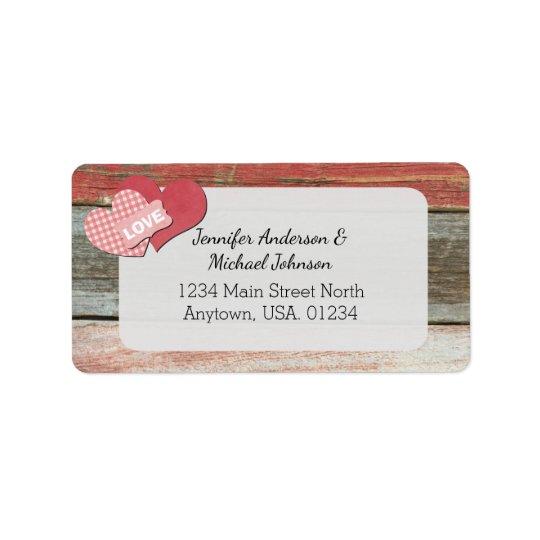 Étiquette Coeurs et mariage rustiques de grange de cadre