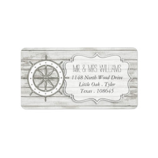 Étiquette Collection en bois blanchie nautique de mariage de
