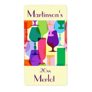 Étiquette coloré de vin en verre