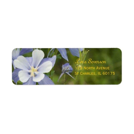 Étiquette Columbine bleu fleurit l'adresse de retour
