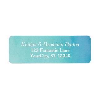 Étiquette Conception assortie d'aquarelle turquoise et bleue