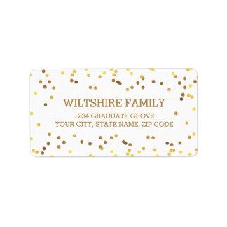 Étiquette Confettis de feuille d'or de Faux
