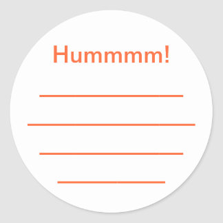 "Etiquette confiture orange ""Hummmm"" Sticker Rond"