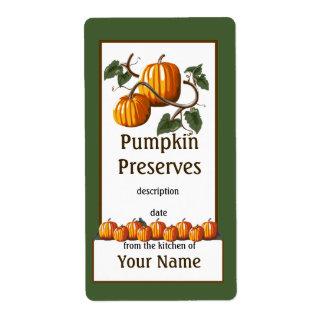 Étiquette Conserves de citrouille mettant en boîte