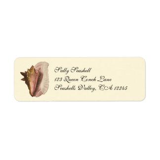 Étiquette Coquillage vintage Shell, animal marin de conque