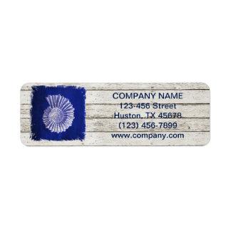 Étiquette coquillages bleus nautiques en bois de dérive chic