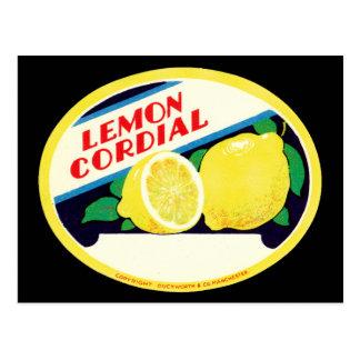 Étiquette cordial de citron vintage carte postale