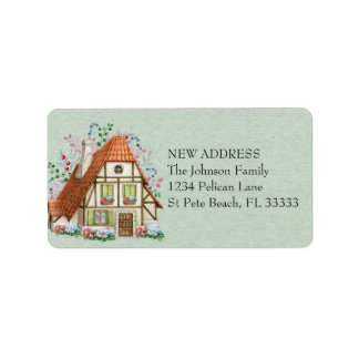 Étiquette Cottage vintage sur la nouvelle adresse de papier