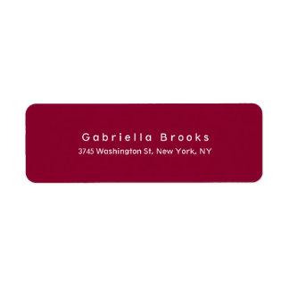 Étiquette Couleur rouge foncé unique élégante simple moderne