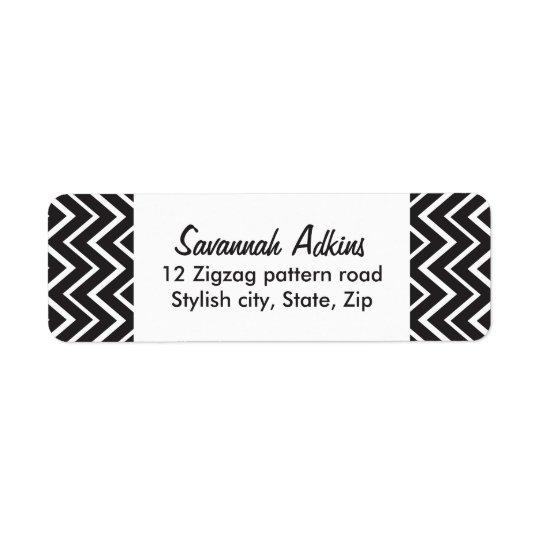 Étiquette Coutume blanche noire élégante de motif de zigzag