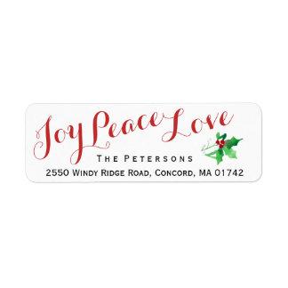 Étiquette Coutume de houx d'amour de paix de joie de