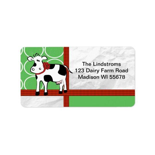 Étiquette Coutume mignonne de bande dessinée de vache à Noël