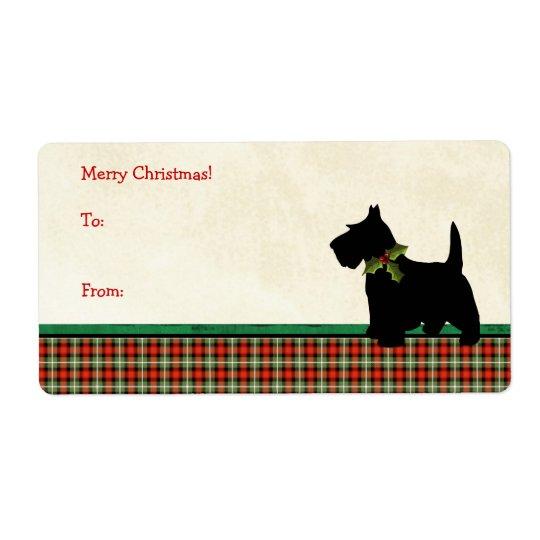 Étiquette Coutume traditionnelle de Noël de plaid de chien