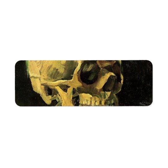Étiquette Crâne de Van Gogh avec la cigarette brûlante, art