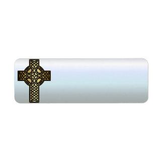Étiquette Croix celtique de noeud dans l'or et le noir
