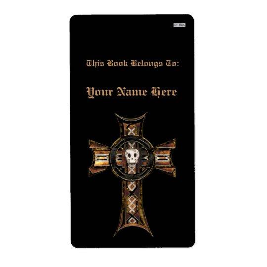 Étiquette Croix celtique et crâne (or) (ex-libris)