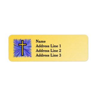 Étiquette Croix rayonnante sur l'arrière - plan jaune de