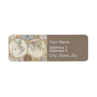 Étiquette Cru d'antiquité de carte de voyage du monde