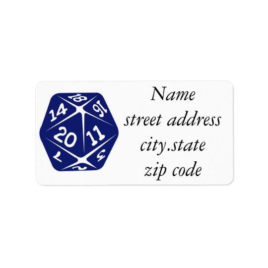 Étiquette D20 bleu