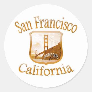 Étiquette d or de San Francisco la Californie Autocollant Rond