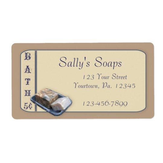 Étiquette d'affaires de savon de pays