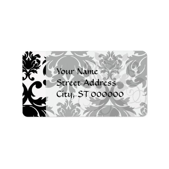 Étiquette damassé blanche noire formelle fleurie