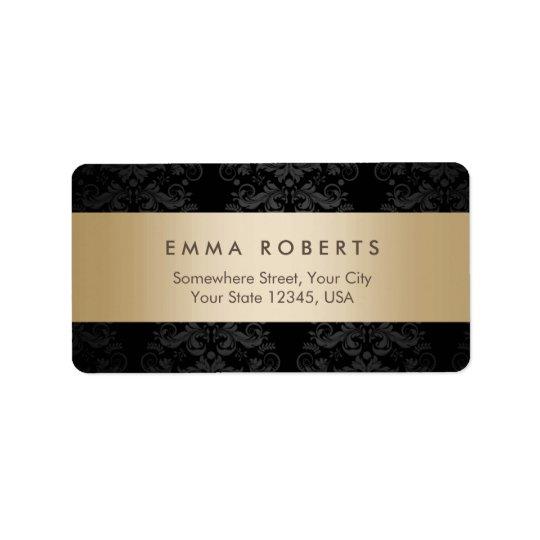 Étiquette Damassé noire élégante rayée d'or moderne