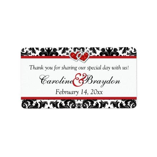 Étiquette Damassé rouge blanche noire, coeurs épousant