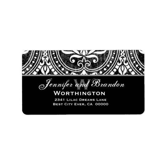 Étiquette Damassé vintage noire et blanche