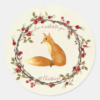 Étiquette d'autocollant de renard de guirlande de