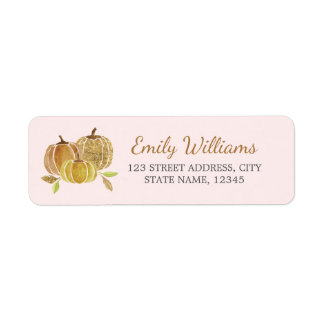 Étiquette d'automne de citrouille de rose d'or