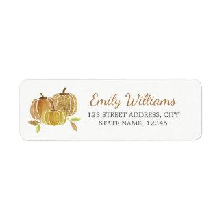 Étiquette d'automne de citrouille d'or de parties