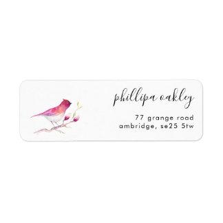 Étiquette de adresse assez rose de retour d'oiseau
