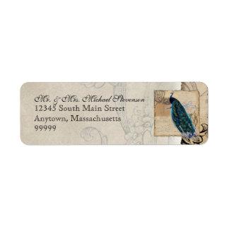 Étiquette de adresse assorti de paon antique -