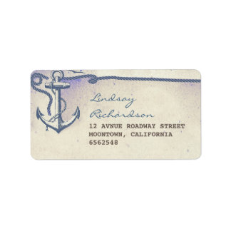 étiquette de adresse avec l'ancre nautique