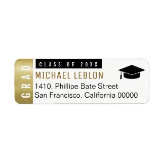 étiquette de adresse blanc de diplômés élégants