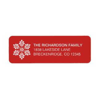 Étiquette de adresse blanc rouge de retour de Noël