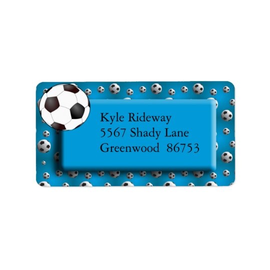 Étiquette de adresse bleu de ballon de football