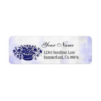 Étiquette de adresse bleu de coutume de fleurs de