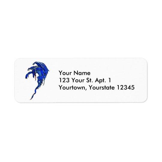 Étiquette de adresse bleu de dragon de vol