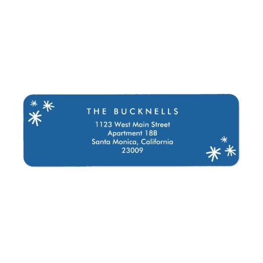 Étiquette de adresse bleu de Noël des vacances les