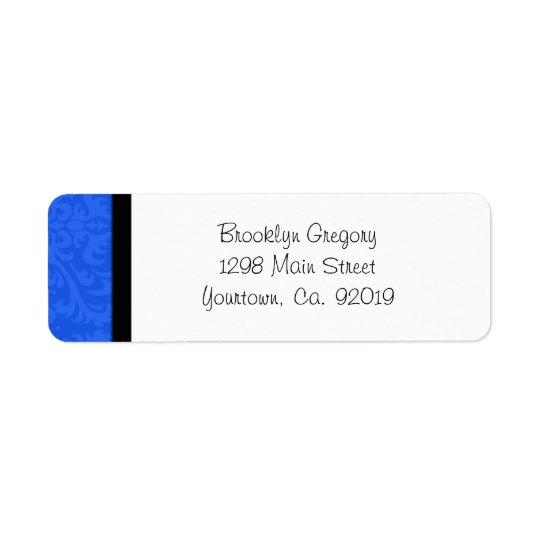 Étiquette de adresse bleu de retour de damassé