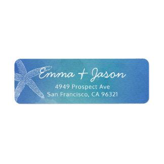 Étiquette de adresse bleu de retour de mariage