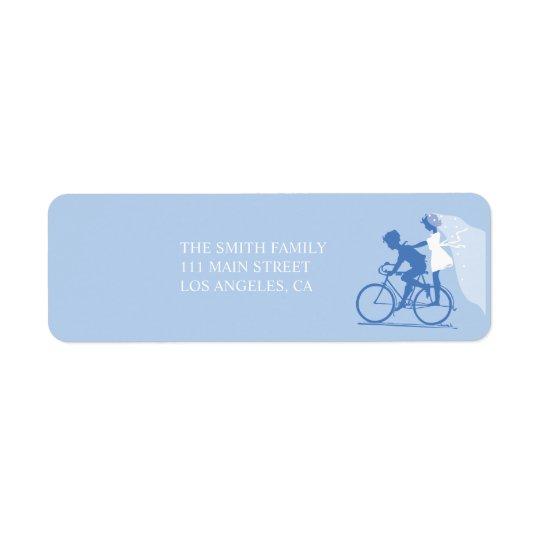 Étiquette de adresse bleu de retour de mariage de