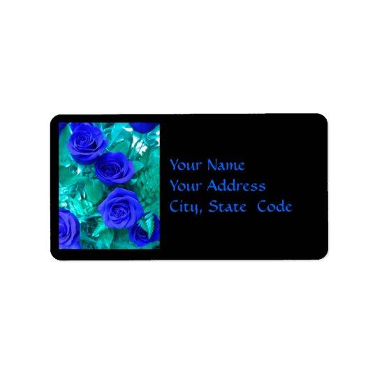 Étiquette de adresse bleu de roses de saphir