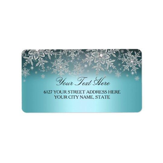 Étiquette de adresse bleu d'hiver de flocon de