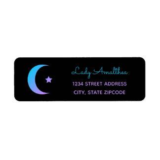 Étiquette de adresse bleu et pourpre de lune et